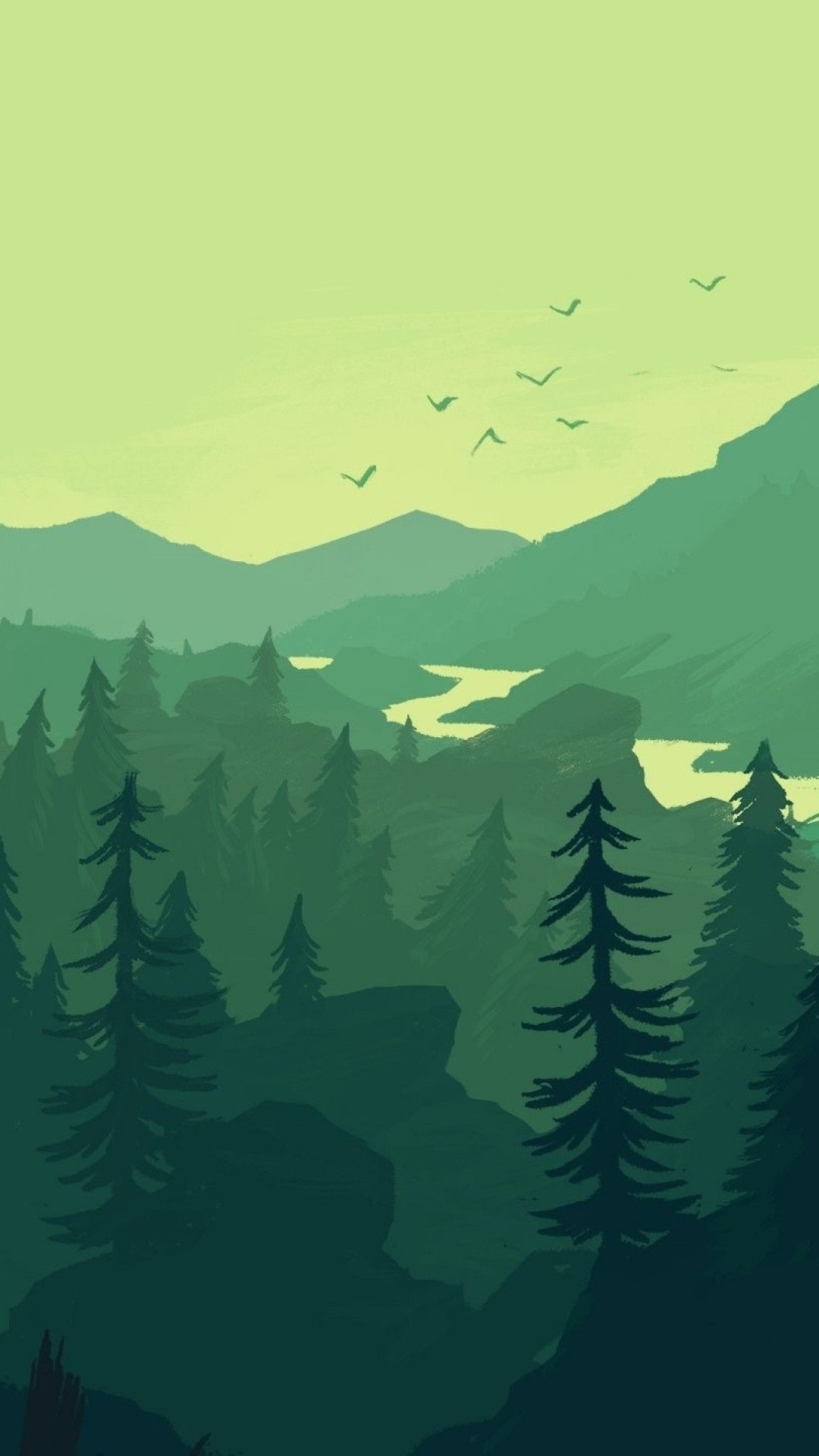 Minimalist Black And Green Picture Iphone Wallpaper Landscape Landscape Wallpaper Scenery Wallpaper