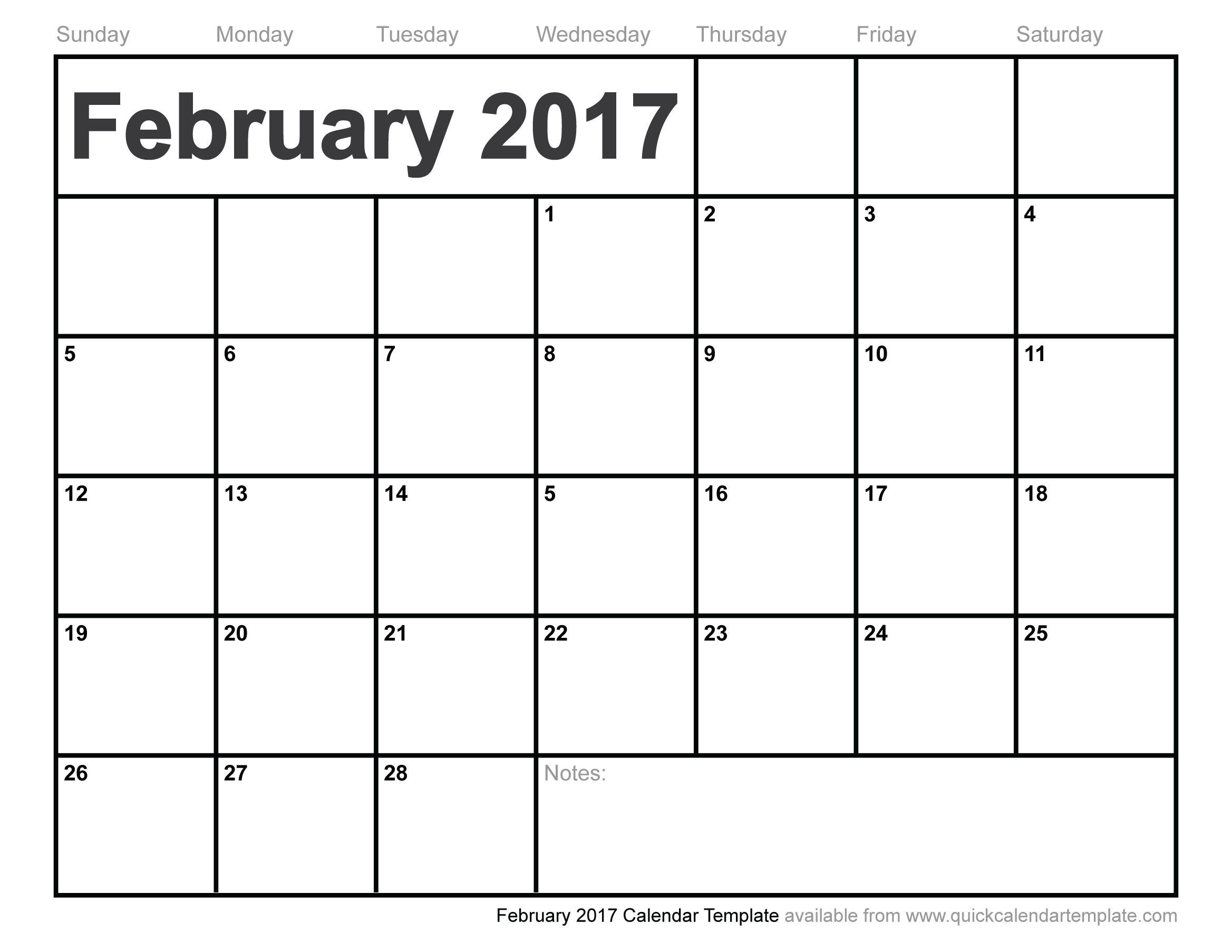 February Calendar Template With Images