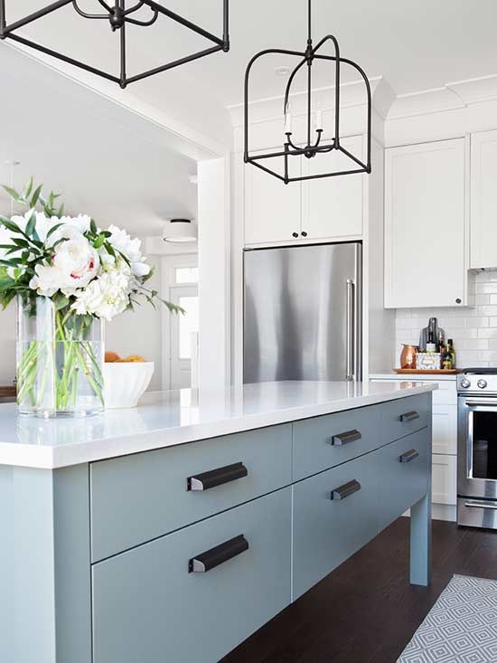 White and gray/ 2-tone cabinets Kitchen/ Dining area design ideas