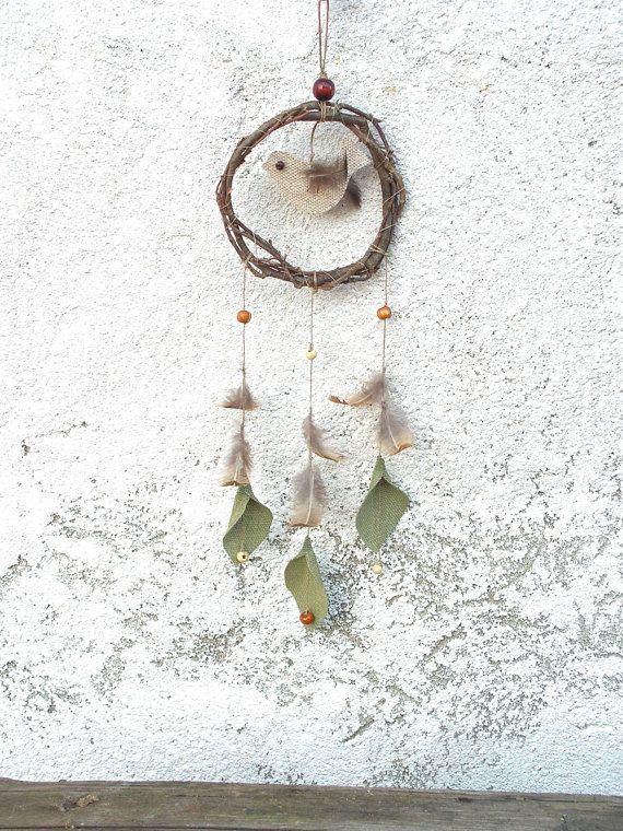 Linen bird , rustic dream catcher - Natural rustic home decor ,  wood - dreamcatcher mobile - Hanging Decoration