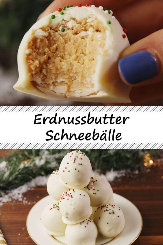 Erdnussbutter Schneebälle perfekt für die bevorstehenden Feiertage!  #pralinecake