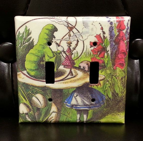Alice in Wonderland Double Light Switch Cover - Mushroom and Caterpillar on Etsy, $11.00