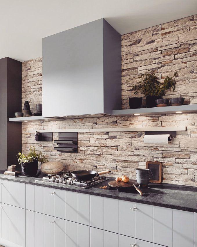 Ten Ozdobny Kamien Na Scianie Jest Przepiekny Co Sadzicie Bogaccypl Kuchnia Kuchnie Ins Kitchen Tiles Design Kitchen Design Decor Kitchen Design Color