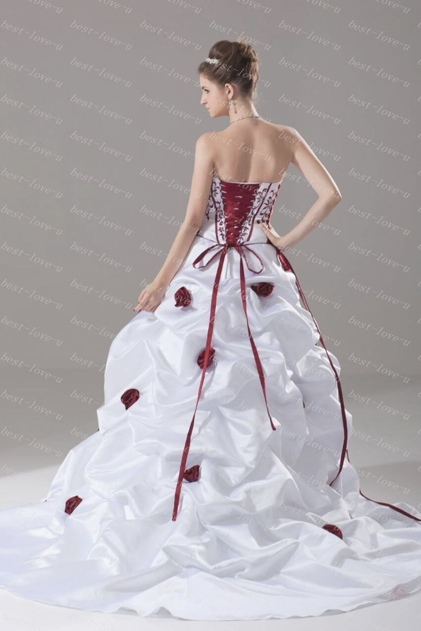 2014 New Strapless White With Red Embroidery And Red Rose Flowers Within Best 30 Cheap Red Wedding Dresses White Strapless Wedding Dress Black Wedding Dresses [ 1275 x 850 Pixel ]