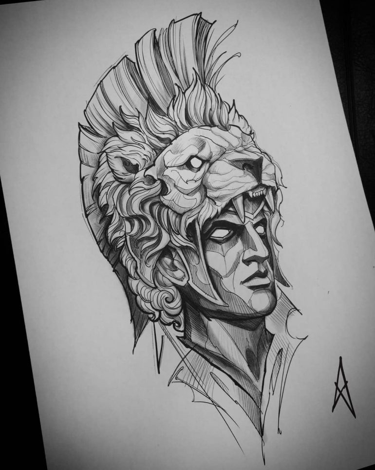 Sketch Alexander The Great On Cool Tattoo Drawings Mythology
