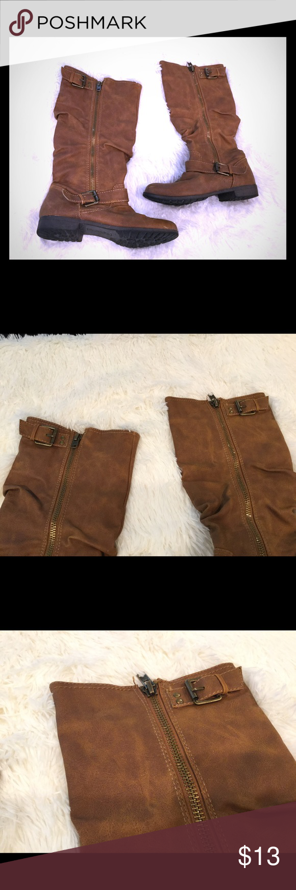 Material girl knee high camel boots size 7 BY material girl size 7, camel, tan buckle accent boot, zipper on outside where buckles are, unique! Worn twice. Good condition, please see pictures for details. Material Girl Shoes Over the Knee Boots