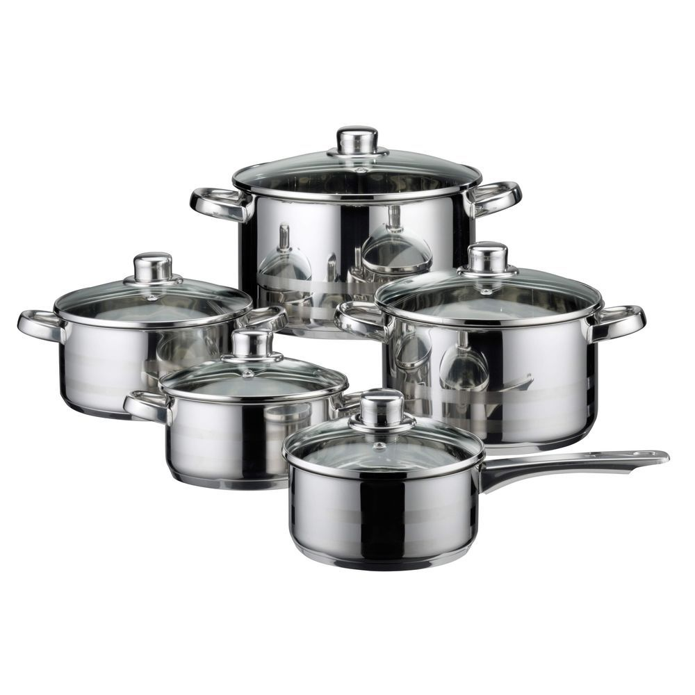 Stainless Steel Cookware Set 10 Piece Induction Cooking Dishwasher Oven Pans Lid Elo