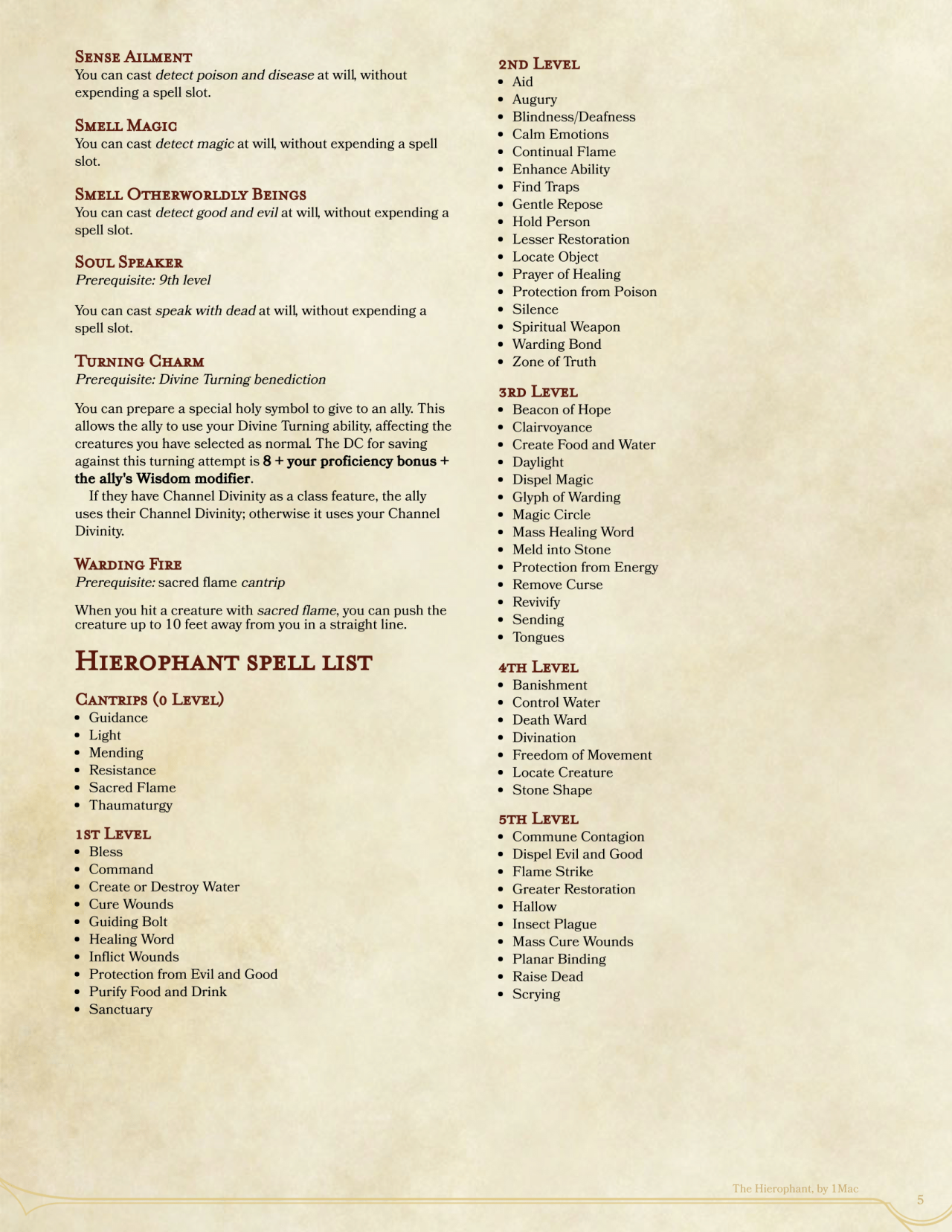 Dnd 5e Homebrew The Hierophant Class And Templar Fighter By The Hierophant Home Brewing Dnd 5e Homebrew