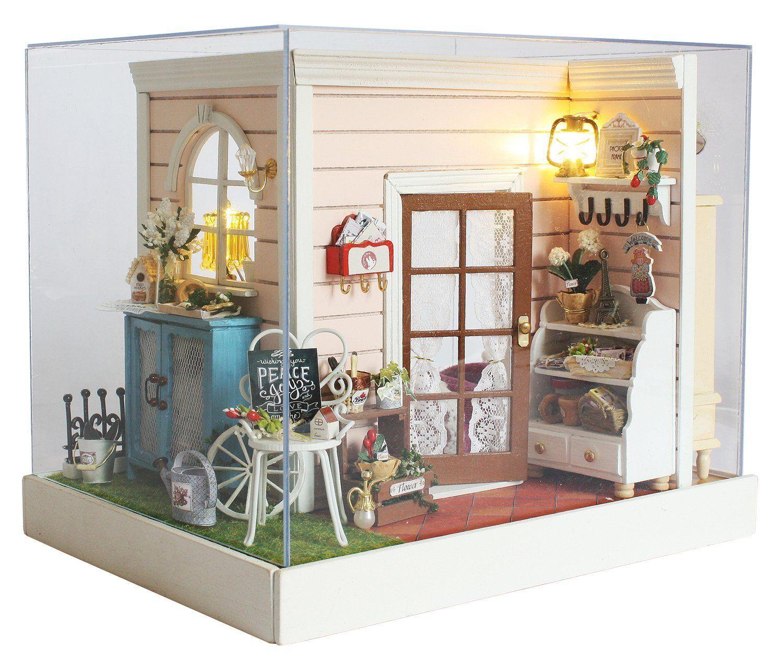 Diy wooden miniature dollhouse kitroom corner model with
