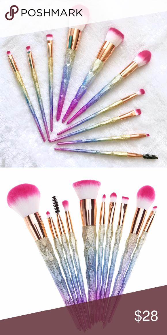 Rose Gold Rainbow Ombré Unicorn Brush Set 10Brush Set