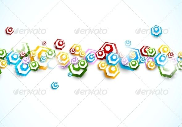 Background with Colorful Hexagons