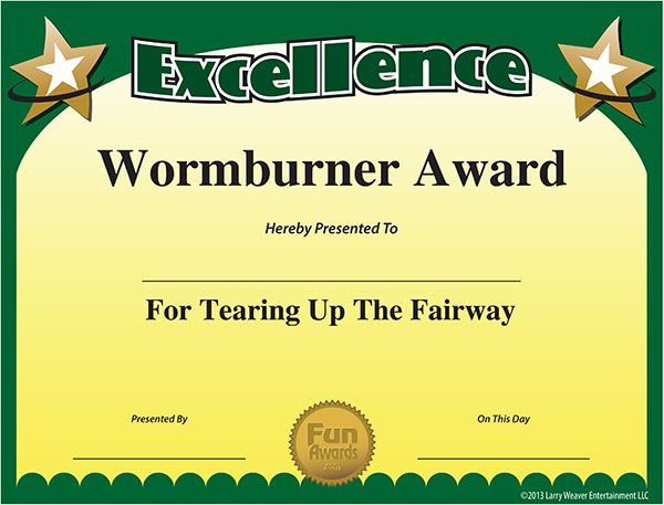 Free Funny Golf Awards And Sports Award Certificates From Comedian
