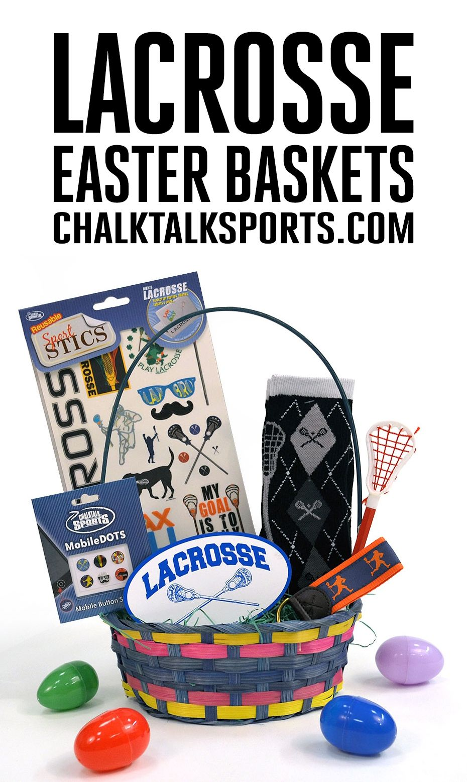 Easter is less than two weeks away! Surprise your favorite lacrosse player with an Easter basket filled with hand-picked lacrosse goodies from ChalkTalkSPORTS.com! Your athlete will love this basket that includes comfy lax apparel, our MobileDOTs for your iPhone or iPad, decor, and more!