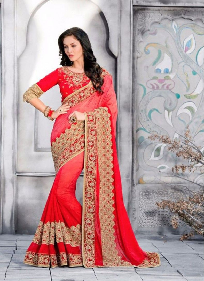 Peach color saree for wedding georgette red colored designer wedding saree  sarees  pinterest