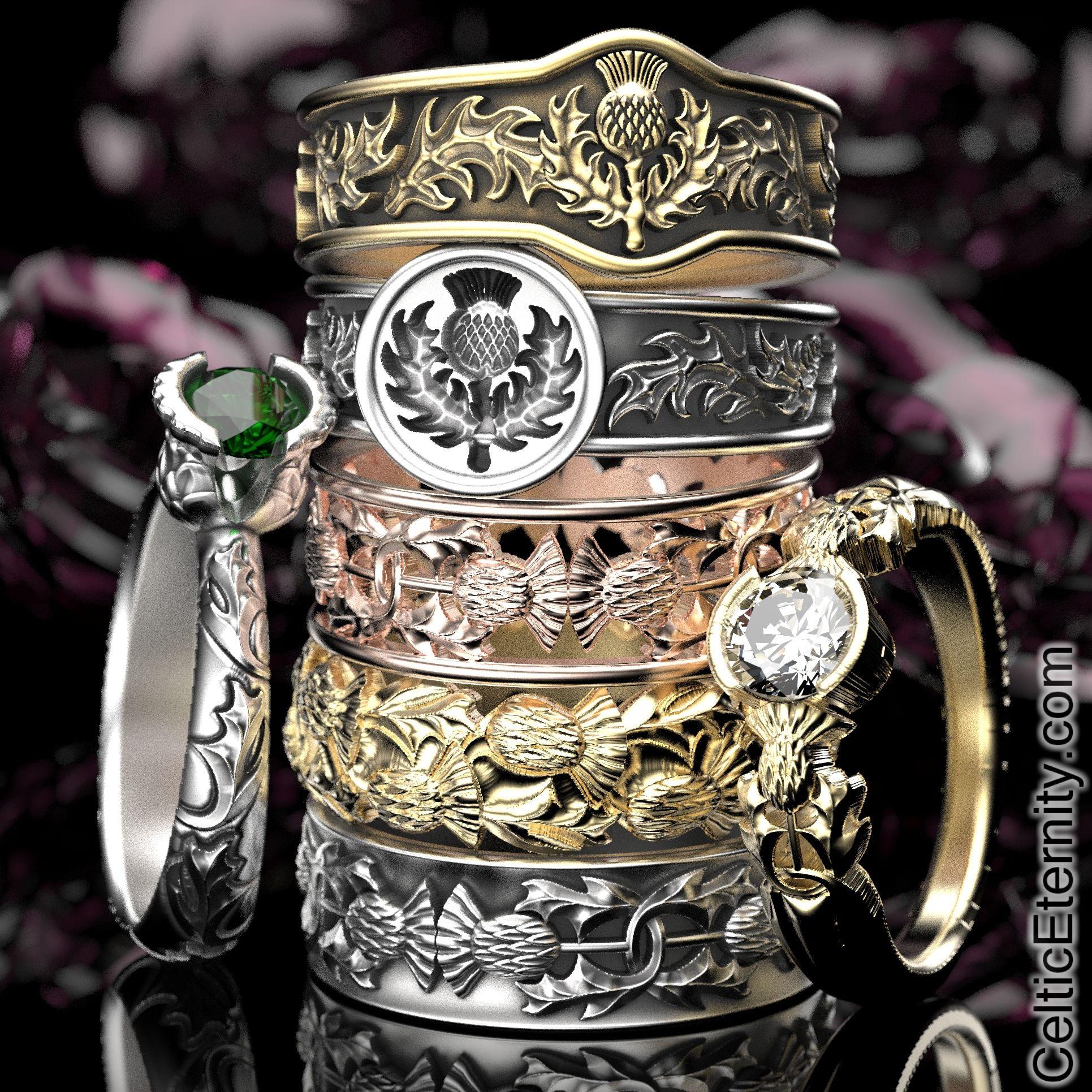 Handmade Scottish Thistle Rings by CelticEternity
