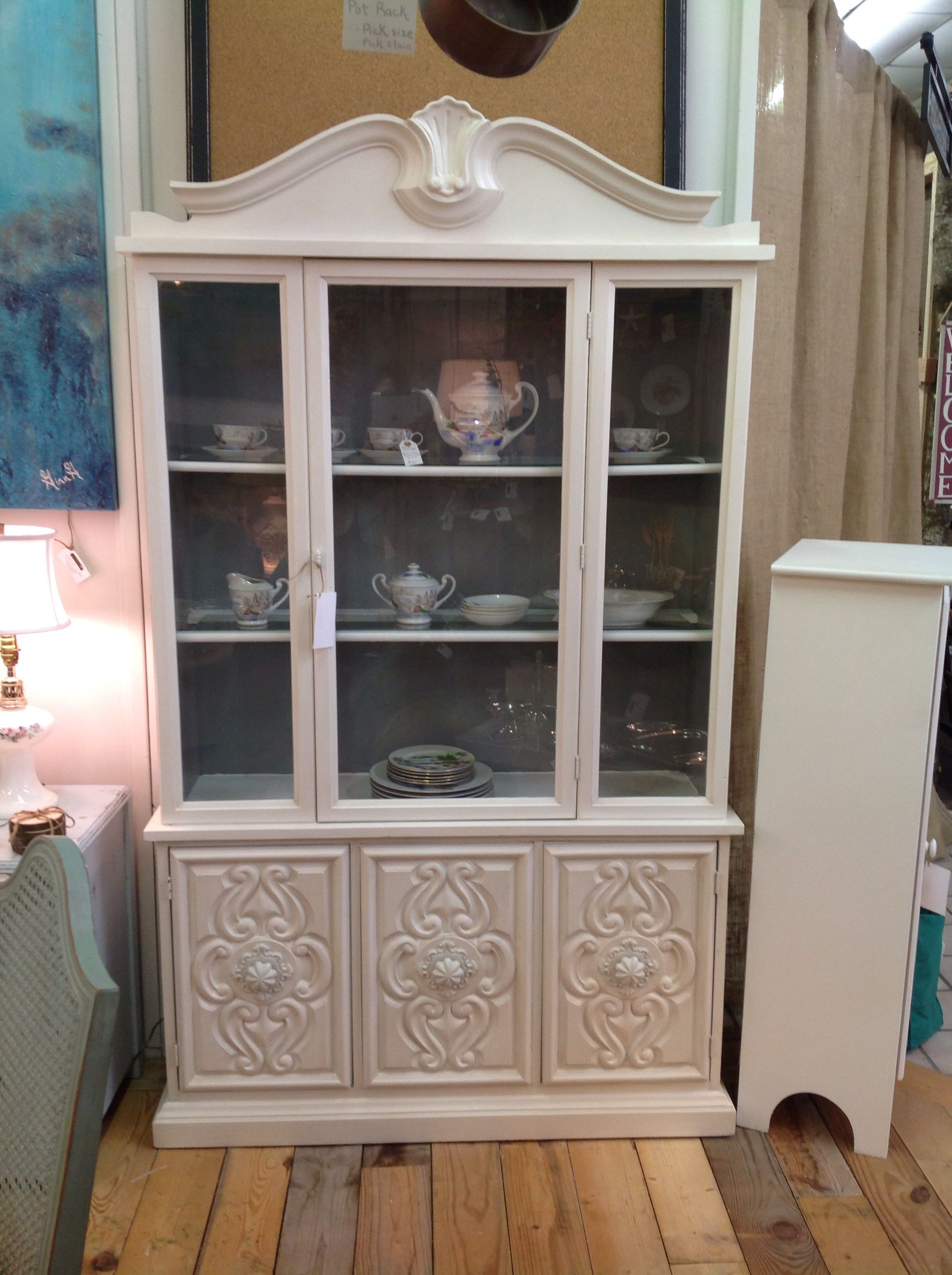 White Distressed China Cabinet With Grey Inside Furniture Makeover China Cabinet Cabinet
