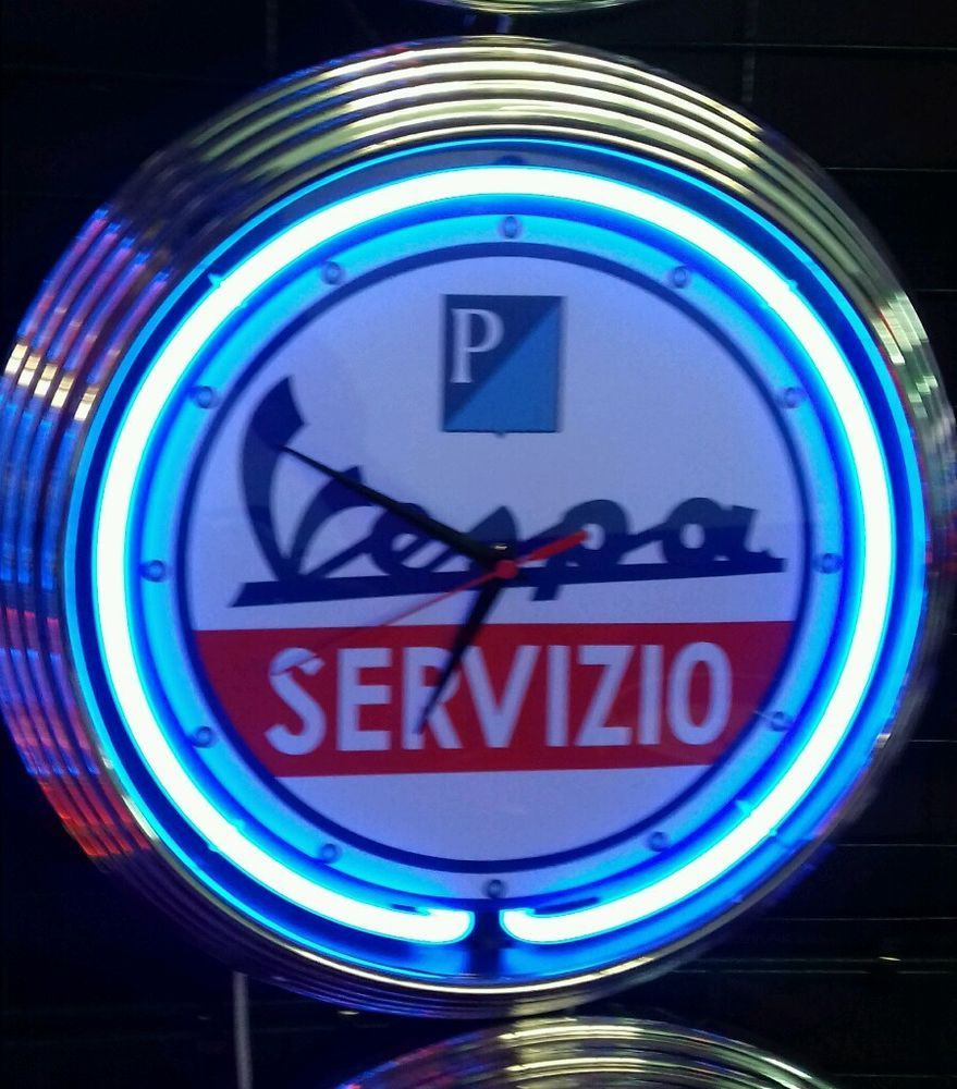 vespa servizio garage sign wanduhr beleuchtet neon blau wallclock blue neon neon pinterest. Black Bedroom Furniture Sets. Home Design Ideas