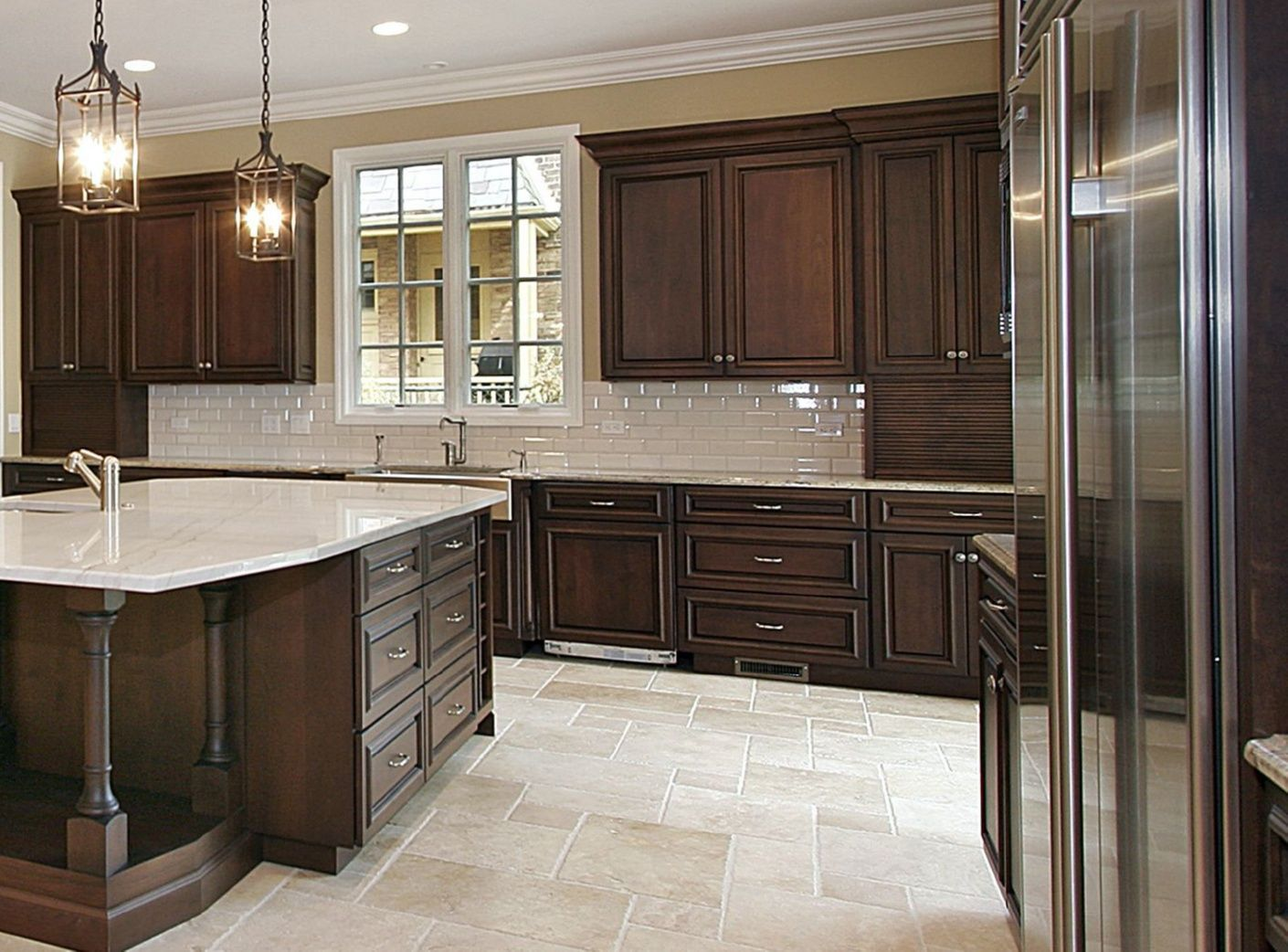 Kitchen Cabinets Direct Cherry Cabinets With Travertine Tile Floors Cabine Dark Brown Kitchen Cabinets Brown Kitchen Cabinets Colorful Kitchen Backsplash