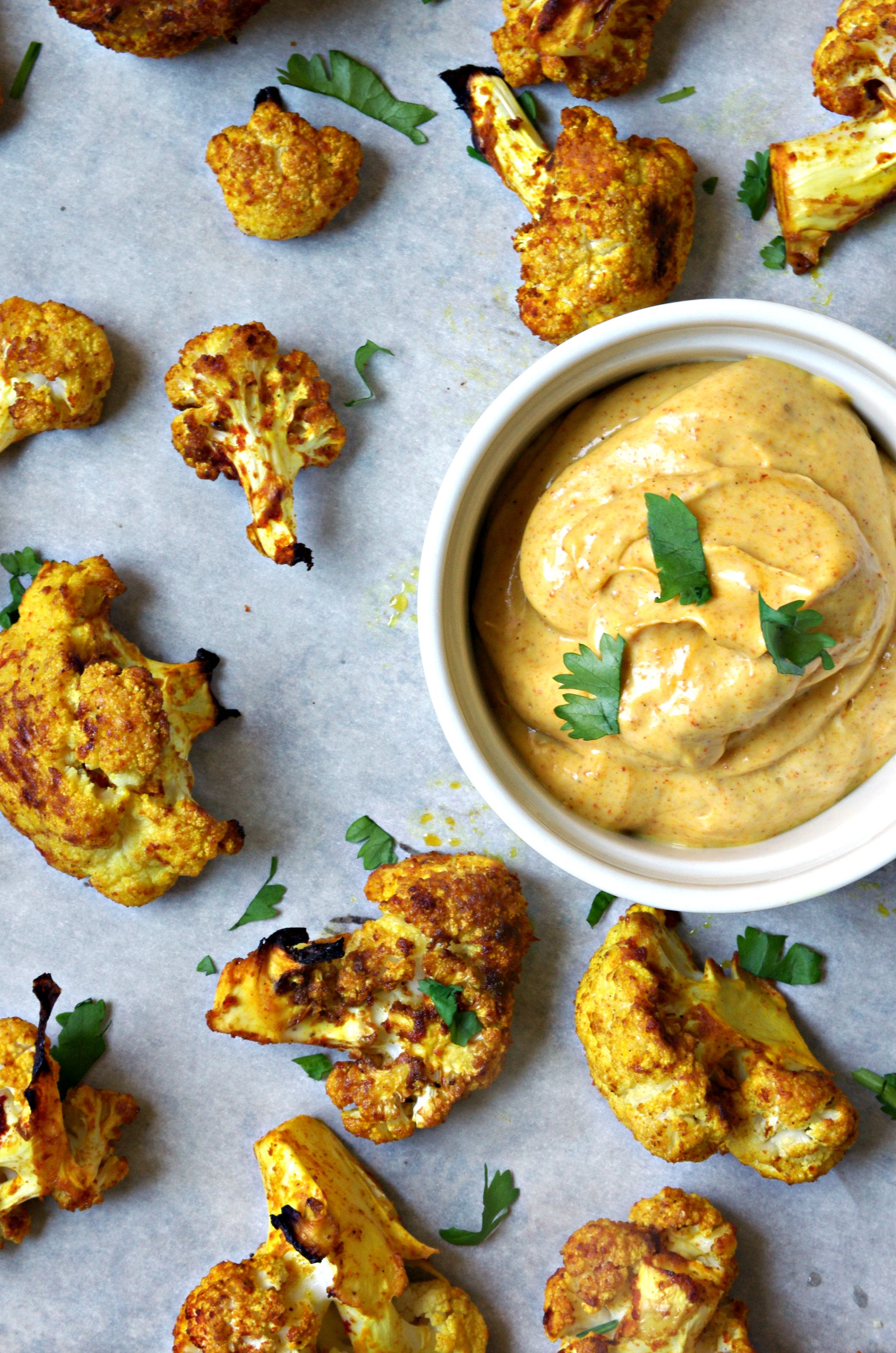 Curried Oven Roasted Cauliflower With Curry Mayo Recipe Oven Roasted Cauliflower Recipes Curry