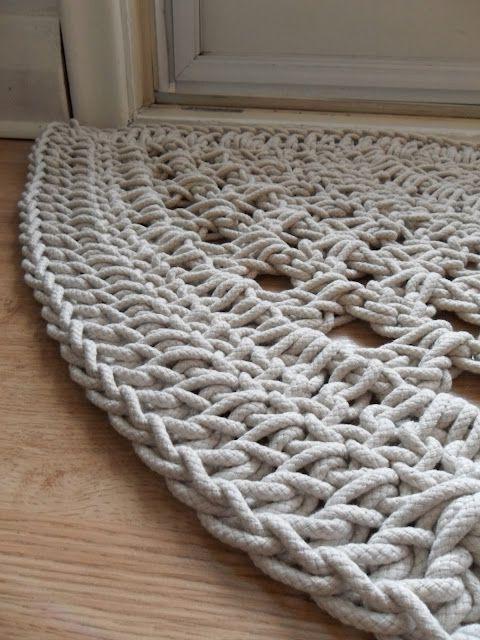 коврик из полиэфирного шнура крючком | Вязание | Crochet ...