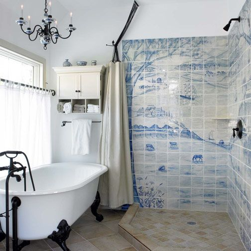 In A Dutch-inspired New Old House In Pennsylvania, The Artist Homeowners Lined The Shower Stalls