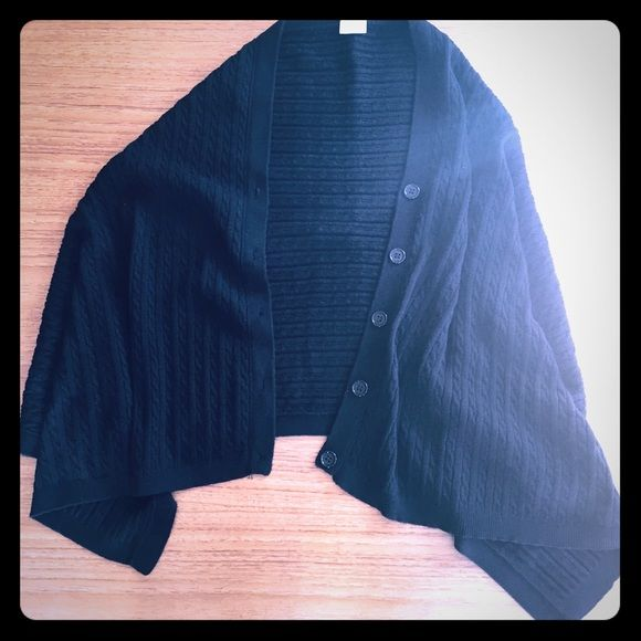 """Black cable knit 5-button cape/shawl - 19""""x50"""" Black 5-button cable knit cape/shawl, measures 19"""" wide x 50"""" long.  Wonderful for travel or to cover your shoulders on a cool evening.  EUC, no snags, pulls, or tears that i see.  Cotton/acrylic blend, washable.  Not too heavy, nice light weight, and soft.  Thank you for looking!  Bundle discount of 20% for 2+ listings! Top it off  Jackets & Coats Capes"""