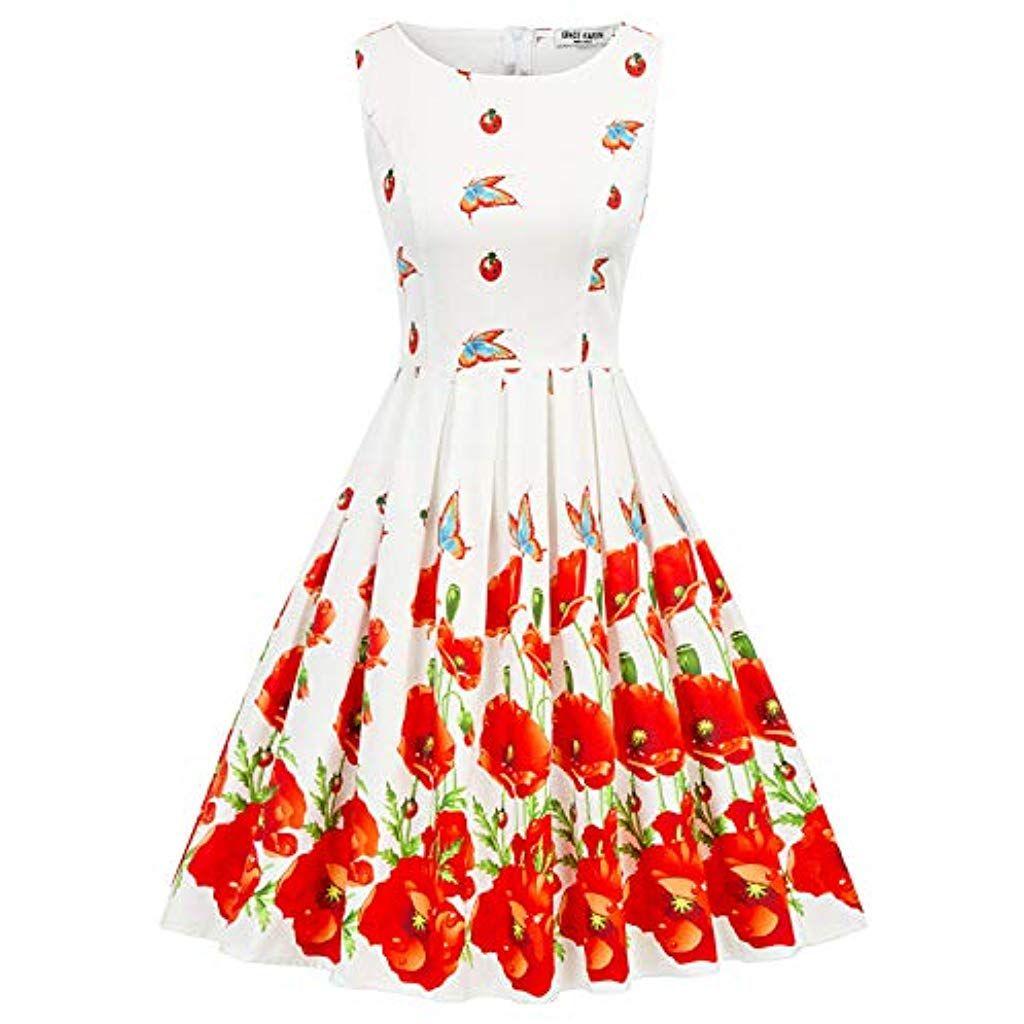 GRACE KARIN 1950s Vintage A-Line Cotton Hepburn Swing Fancy Party Dress with Belt XSPlus Size 4X #Fi...
