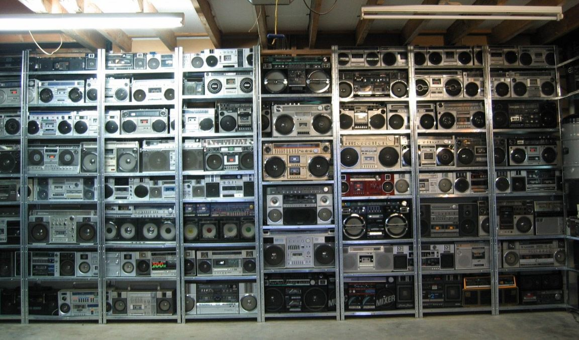 Massive Trove Of Over 300 Boomboxes For Sale Only 14 000 Boombox Vintage Electronics Radio Cassette