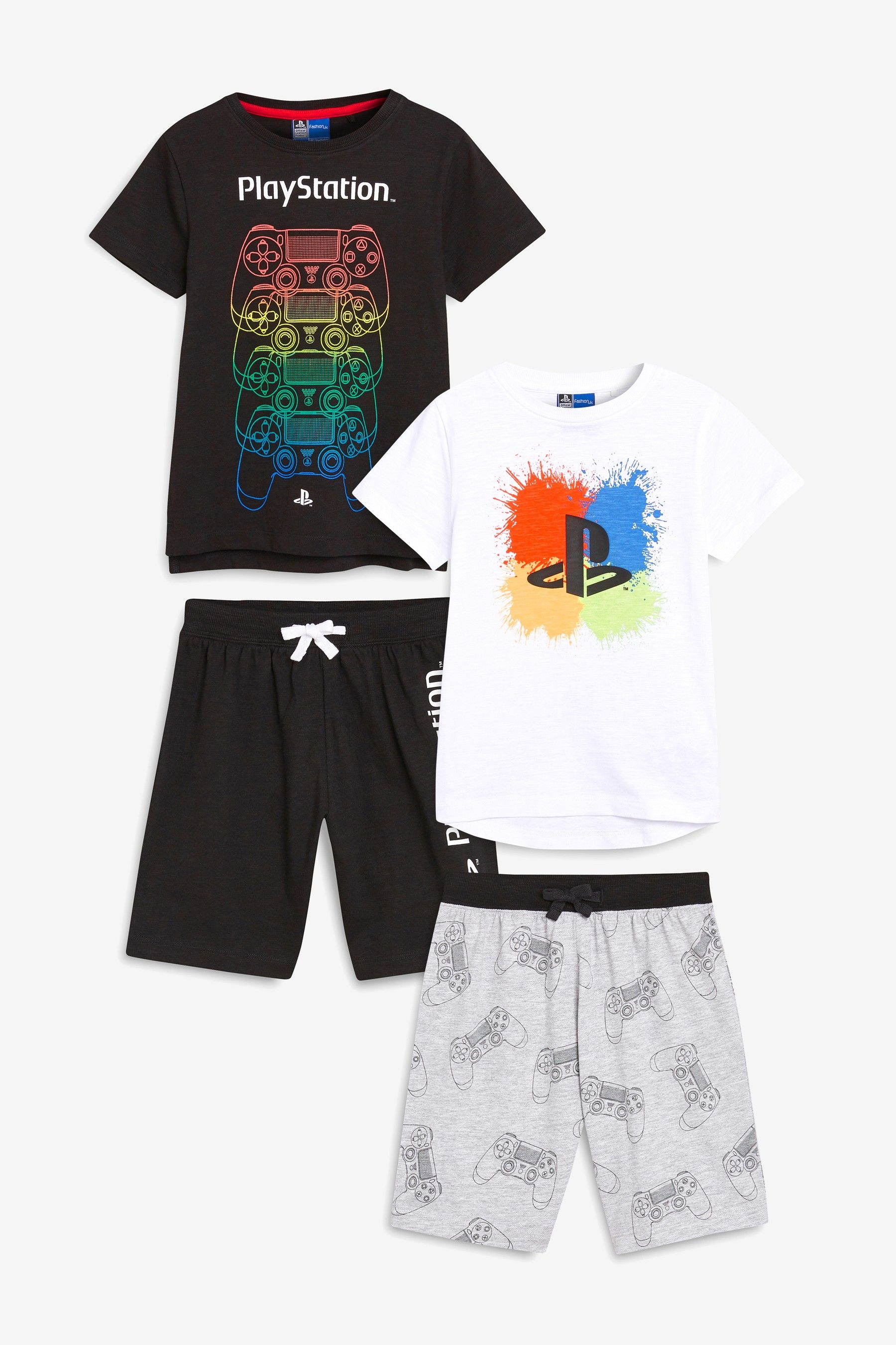 8268fe527c Boys Monochrome PlayStation Pyjamas Two Pack (3-16yrs) - Black ...