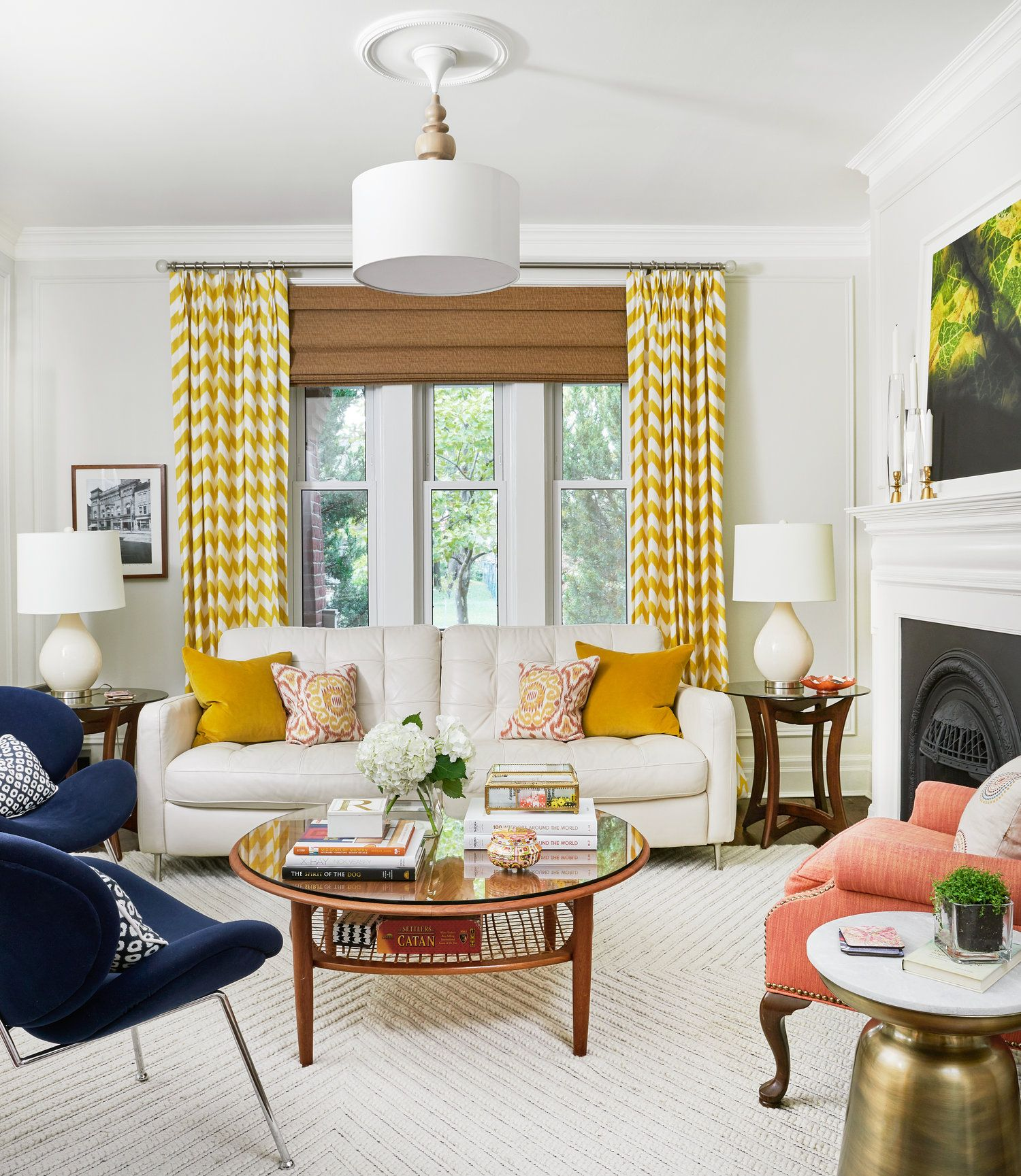 Best Contemporary Living Room Decor With White Yellow And 640 x 480