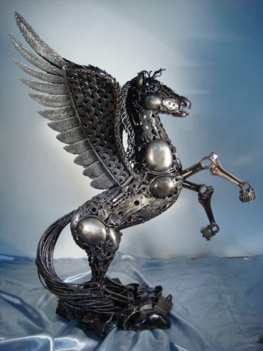 Pegasus Statue Sculpture Figure Life Size Scrap Metal Art