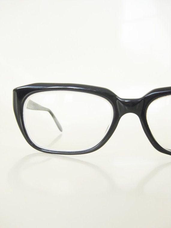 0883426f2097 Vintage 1960s Black Horn Rim Glasses Mens Eyeglasses Mad Men Mid Century  Midnight Ebony 60s Sixties Retro Thick Retro Handsome Hipster