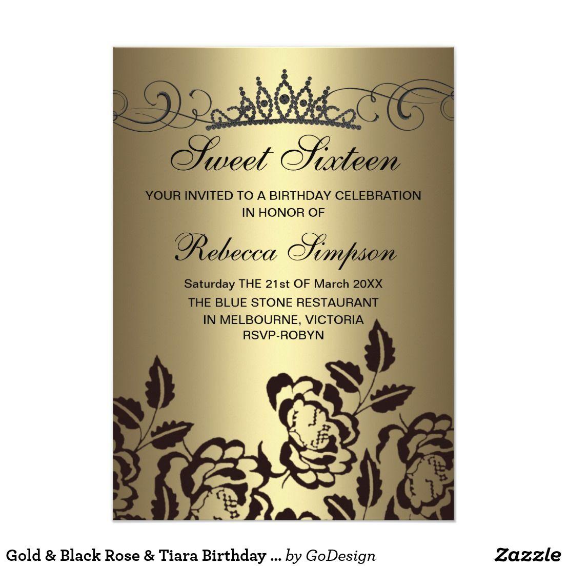 Gold & Black Rose & Tiara Birthday Invitation Elegant Gold & Black ...