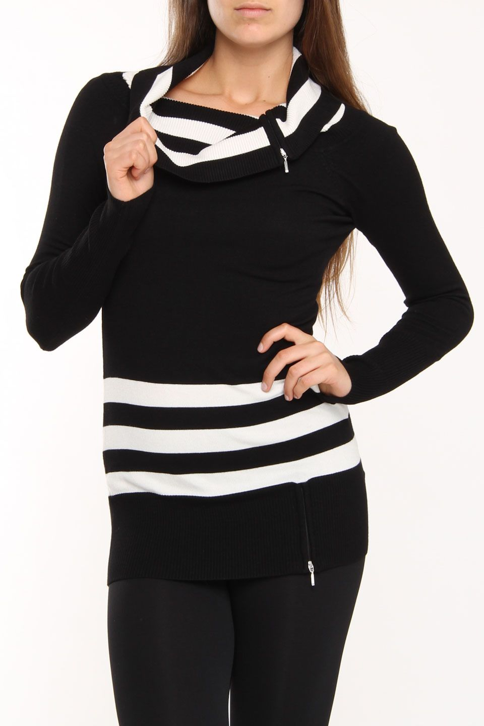 $40 Fille a Suivre Laila Long Sleeve Pullover Sweater In Combo White - Beyond the Rack