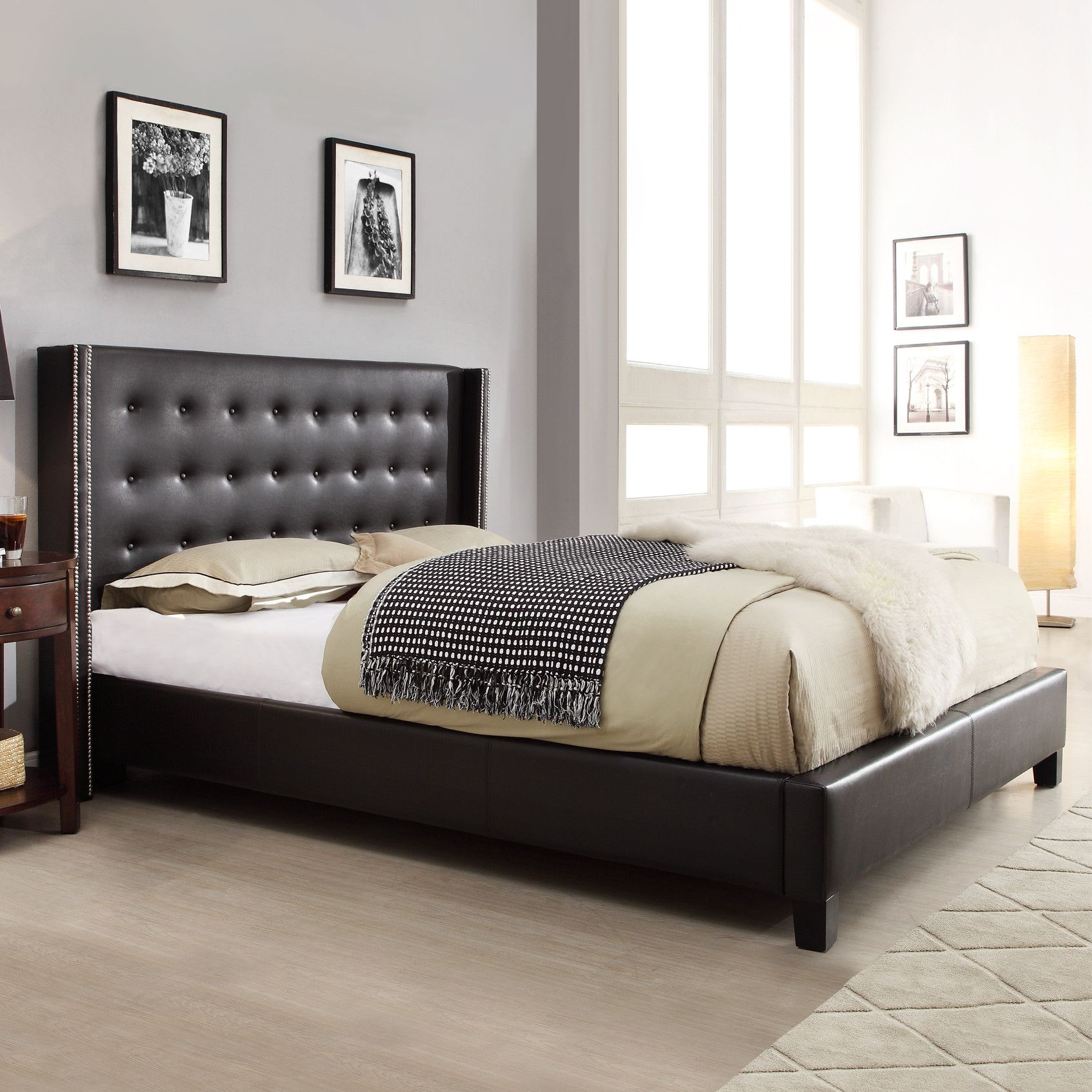 Mackenna Upholstered Bed Black bedding, Furniture