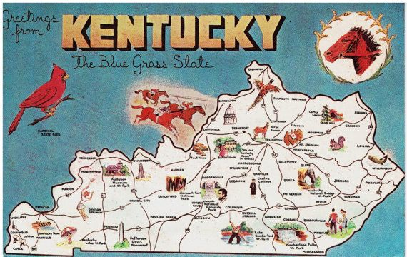 Greetings From Kentucky State Map Vintage Postcards By - Map of the state of kentucky