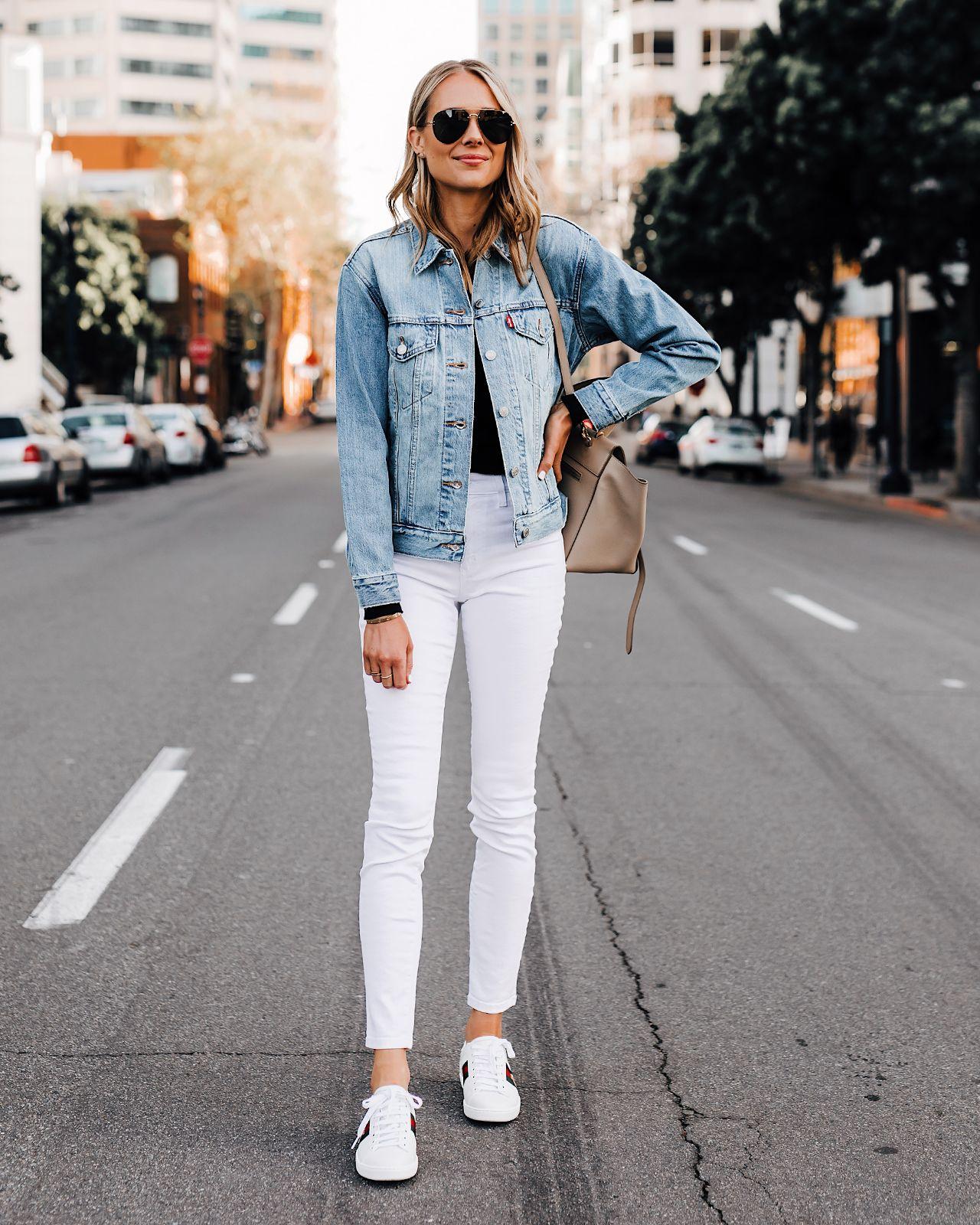 Fashion Jackson Wearing Levis Denim Jacket White Skinny