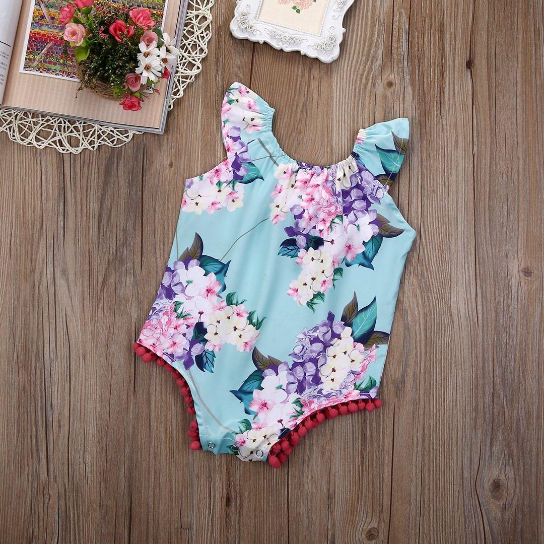 025be90504cd Newborn Infant Baby Girls Sleeveless Floral Flower Pom Romper ...