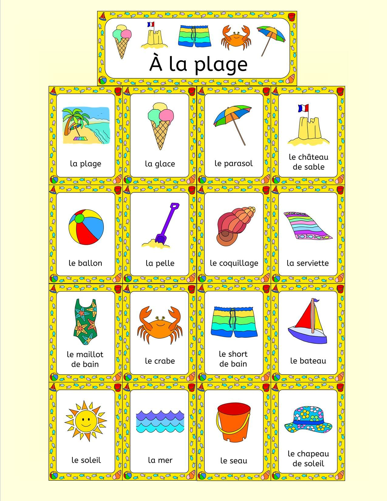 French Summer Beach Vacation Resources A La Plage Activities Puzzles Bingo French Summer Summer Lesson Learn French [ 1650 x 1275 Pixel ]