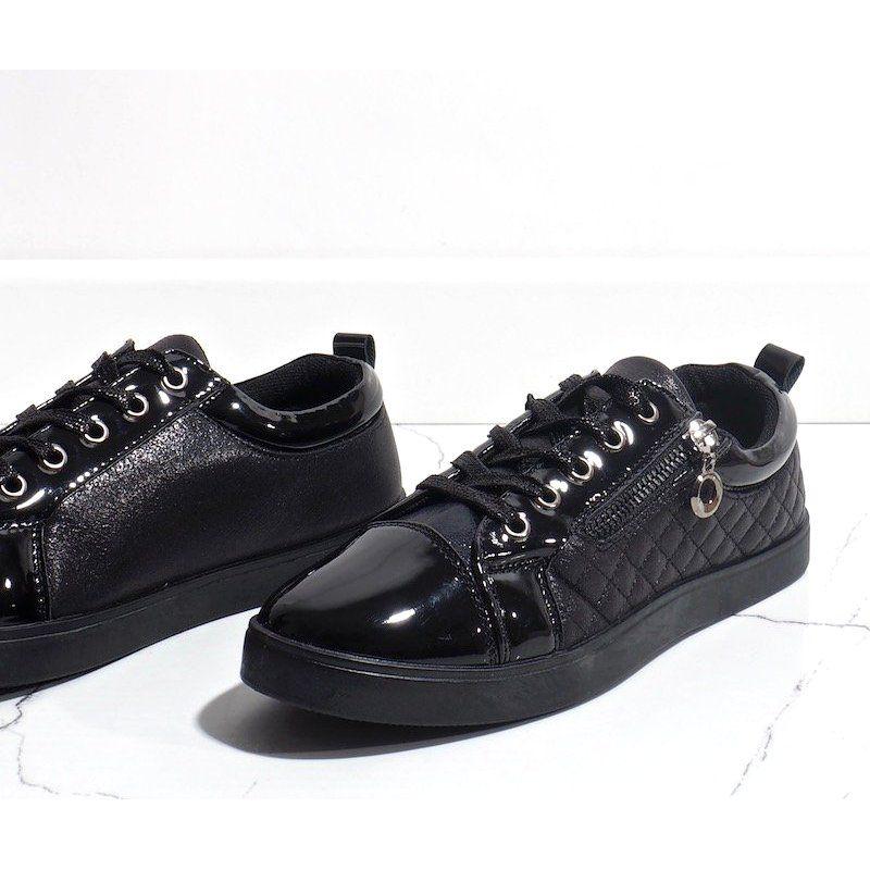 Czarne Modne Trampki Damskie R19 11 All Black Sneakers Black Sneaker Sneakers