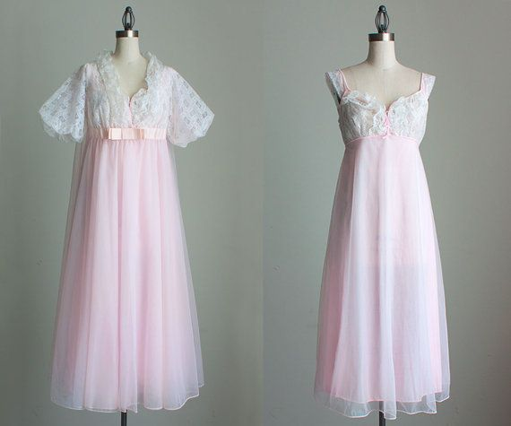 Pink Peignoir Nightgown Set 1960s Vintage Pale PInk And Ivory Sheer Lace  Chiffon Slip Dress And Robe 7f5cad5df