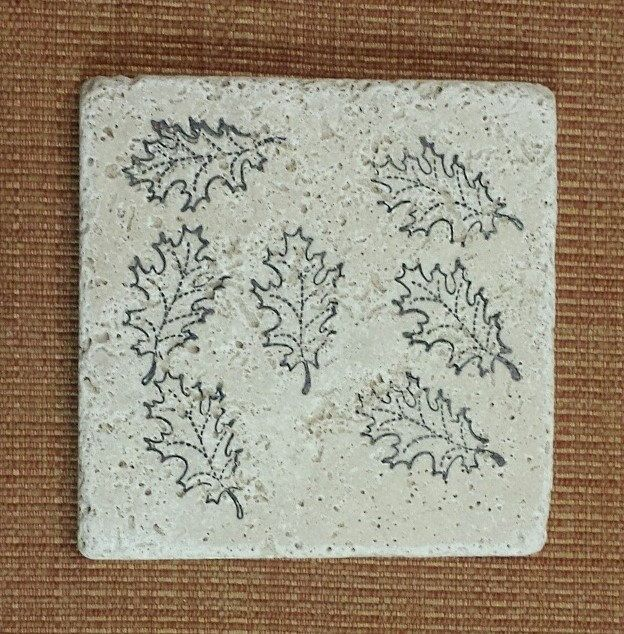 Fall Leaves Inspired Marble Tile Coasters by CircleOakTreasures on Etsy