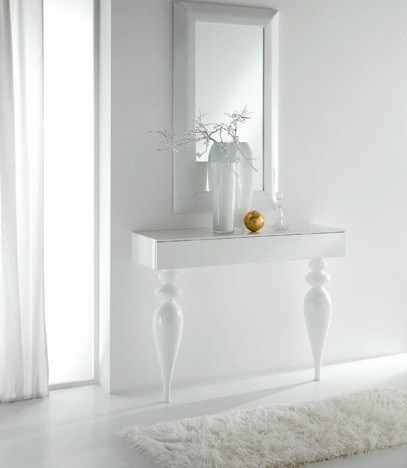 Italian Glossy White Slim Hallway Console Table With Turned Legs