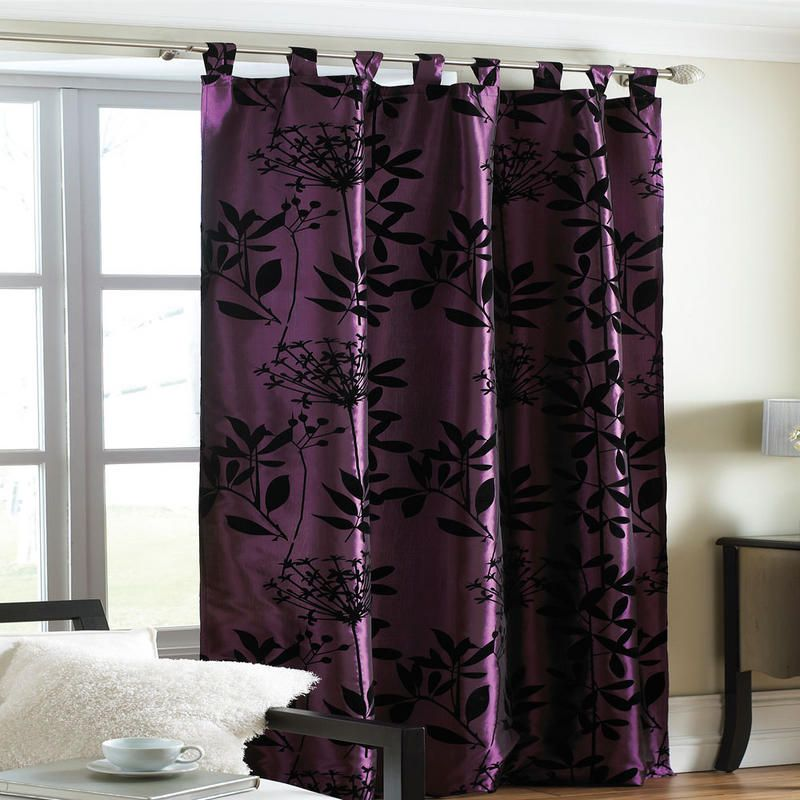 Dark Purple Curtains at Night Plum Printed Flock Heather Design