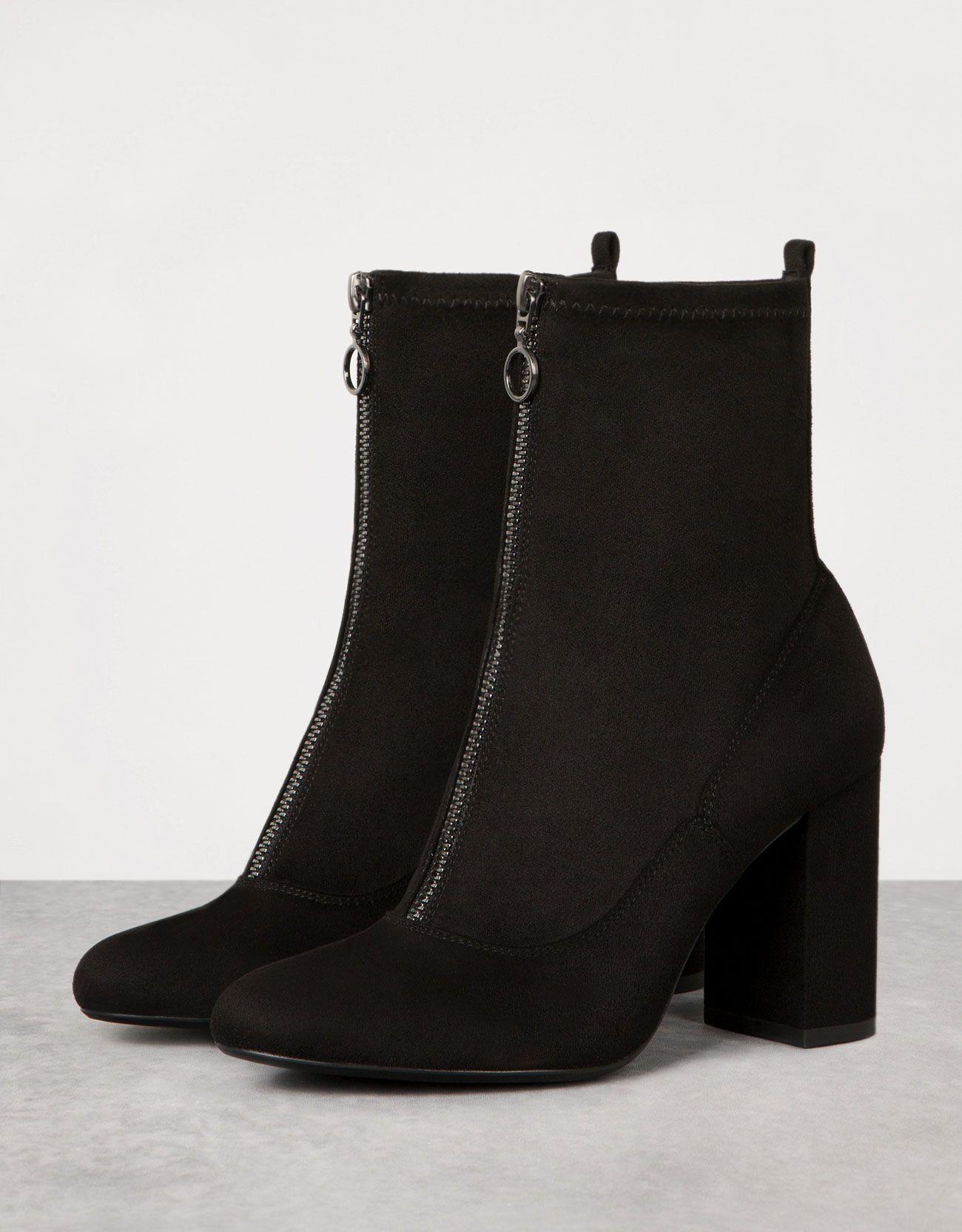 Chaussures automne à bout rond à fermeture éclair noires