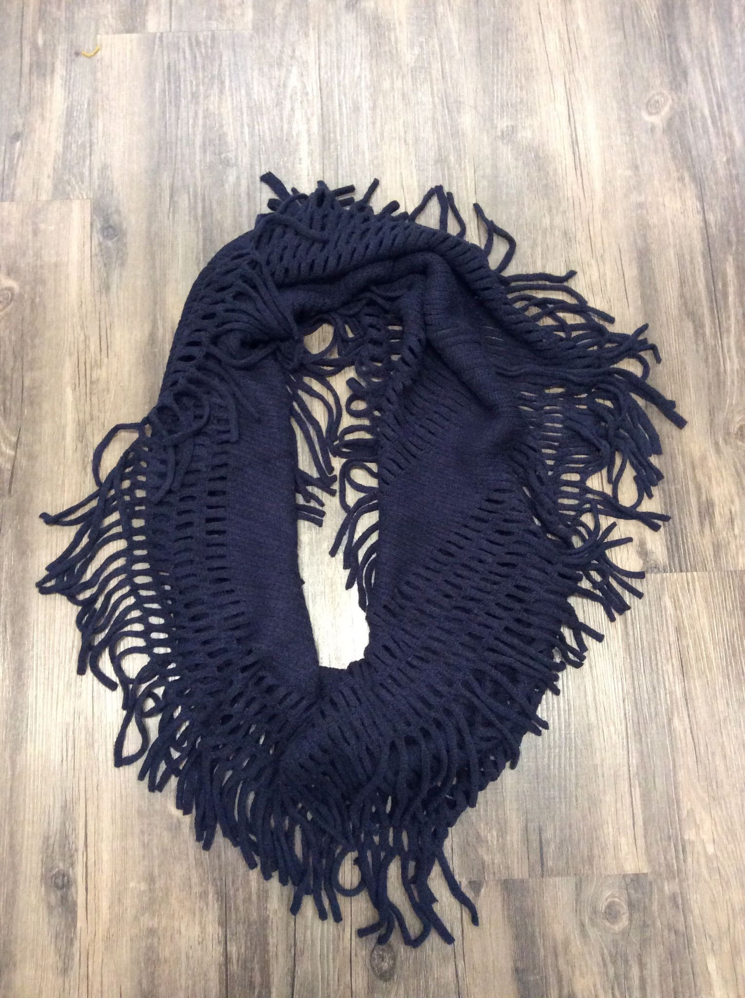 Woven Knit Fringed Infinity Scarf
