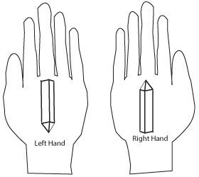 Recharge yourself, hold a crystal in your hand. For best results, hold two crystals in both your hands to allow for energy current to flow into your body and out, completing a circuit. You do this by holding a crystal pointing outwards with your right hand, and while the left hand holds another crystal pointing inwards towards your body.