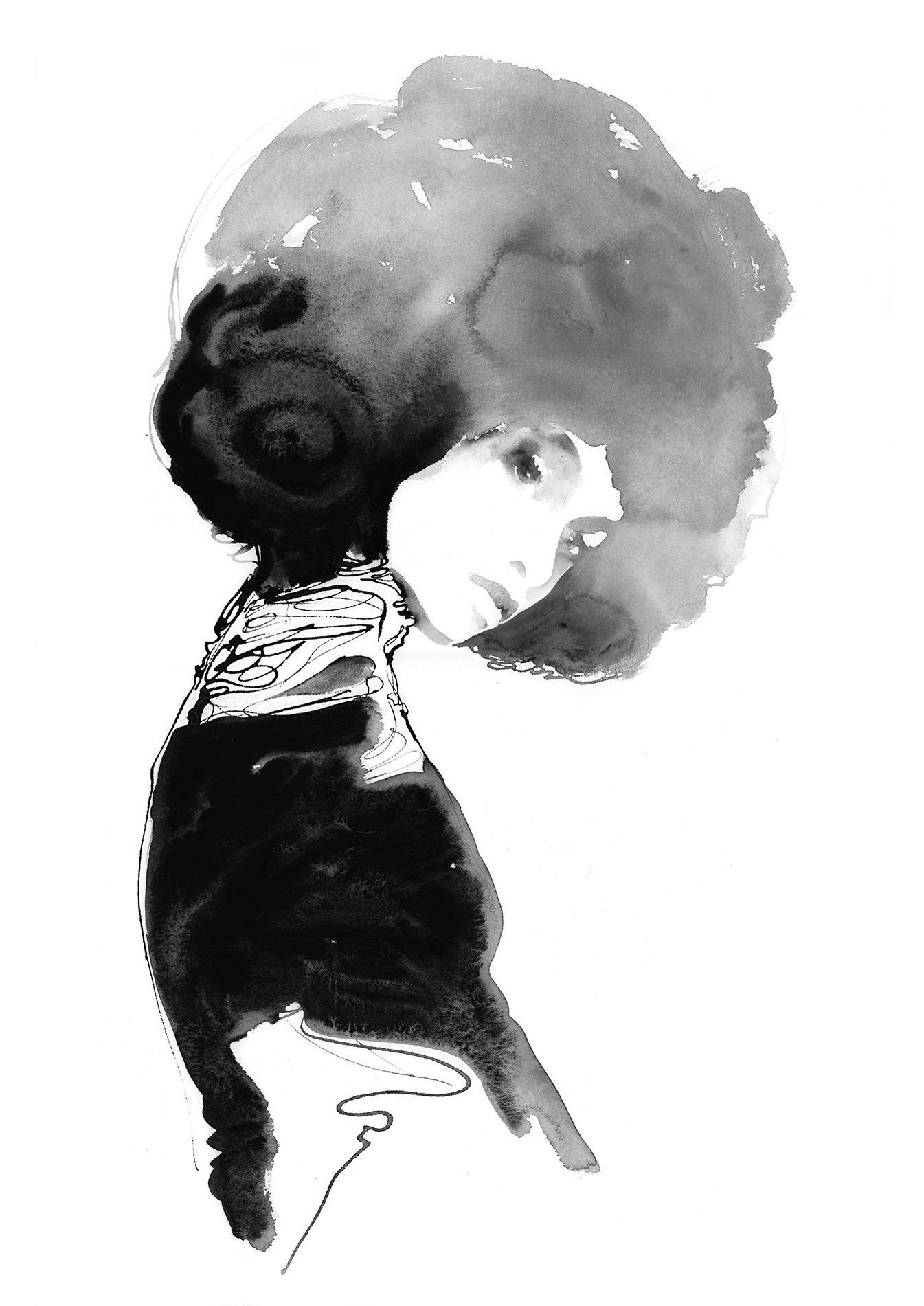 Fashion Illustration Watercolour Print Beautiful Afro Afro Hair