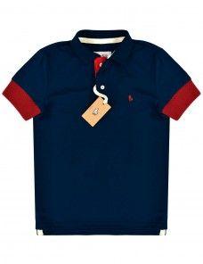 Camisa Polo Masculina Punho Largo Vermelha (Azul Marinho)   Emunah ... 693716b63d