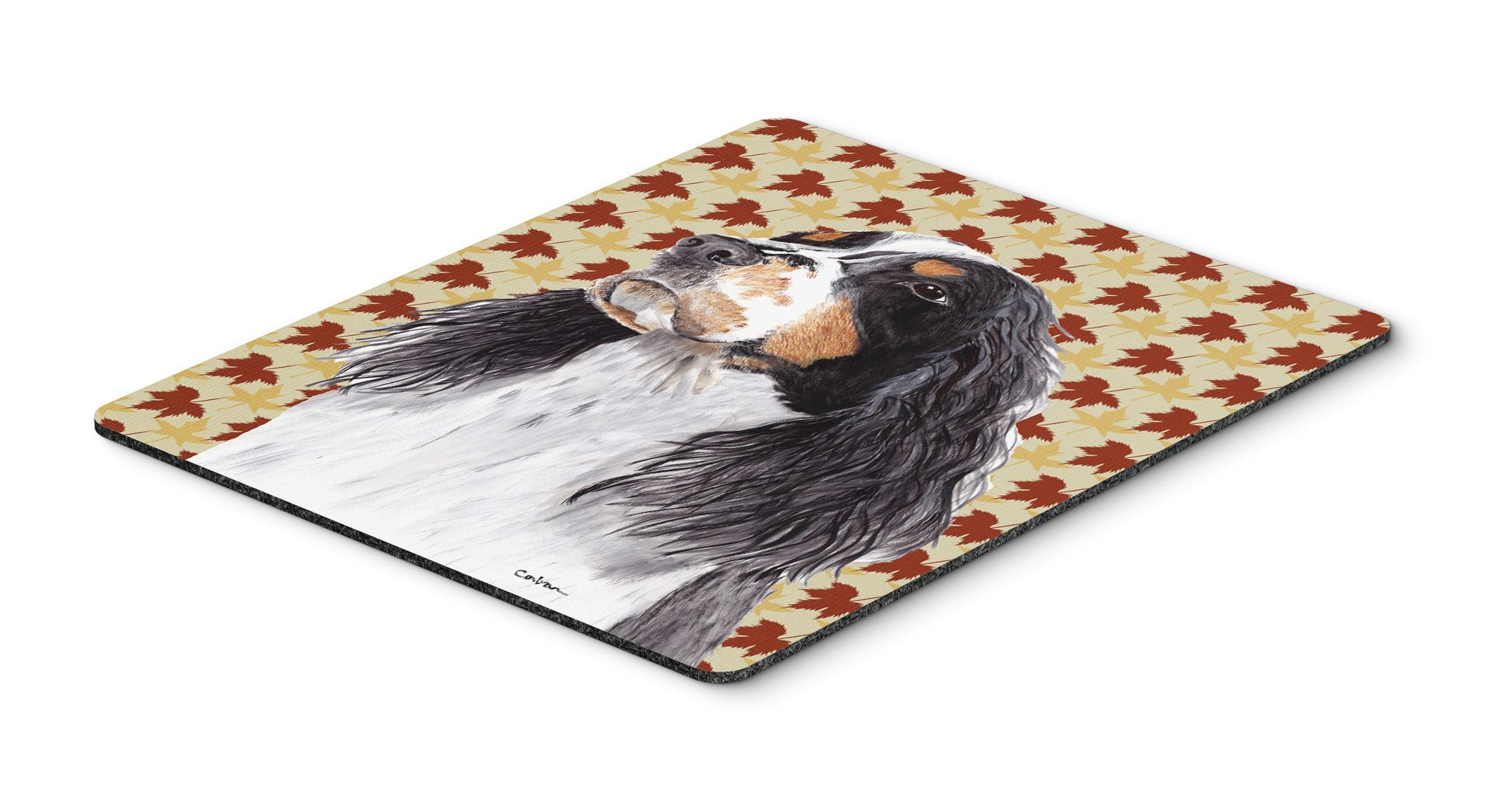 Springer Spaniel Fall Leaves Portrait Mouse Pad, Hot Pad or Trivet